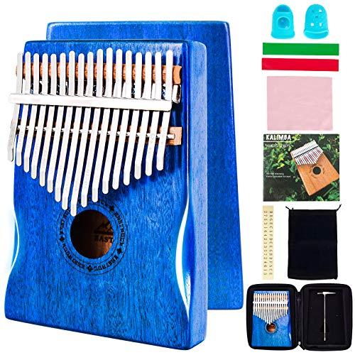 EASTROCK Kalimba 17 Keys Thumb Piano,Portable Mbira Finger Piano Builts-in Kalimba Case(Blue Mahogany Hand Rest)
