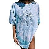 Camiseta de manga corta para mujer, de verano, de gran tamaño, vintage, con estampado de sol y luna, cuello redondo, básico, elegante, para adolescentes y niñas Azul claro5. XXXL