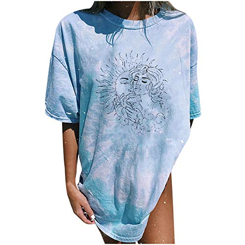 YSLMNOR Vintage Printed T Shirt for Womens Sun and Moon Tops Short Sleeve Round Neck Blouses Casual Tunic Light Blue