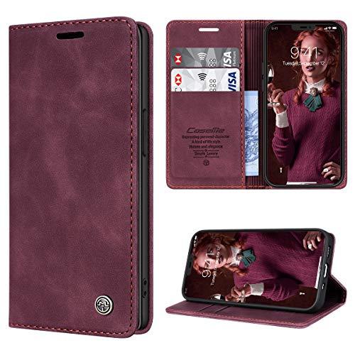 RuiPower Funda para iPhone 12 Mini con Tapa Funda para iPhone 12 Mini Libro Fundas de Cuero PU Premium Magnético Tarjetero y Suporte Silicona Carcasa para iPhone 12 Mini (5.4'') - Vino Tinto