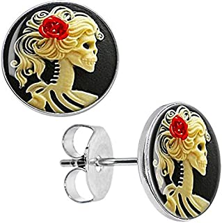 Wholesale Stud Earrings Red Rose Skeleton Cameo Stainless Steel Ear Studs Cheater Fashion Jewelry 8mm 10mm AW5012 - (Metal Color: 10mm, Main Stone Color: 50 Pieces)