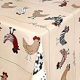 Wachstuch Tischdecke Gartentischdecke mit Fleecerücken Gartentischdecke, Pflegeleicht Schmutzabweisend Abwaschbar Hühner Beige 240x 140 cm - Größe wählbar