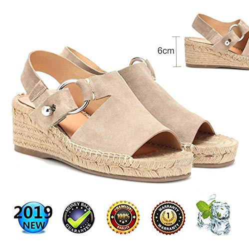 sandalen Retro WedgesPeep Toe Women Buckle Ankle Strappy for Ladies Summer Fashion Flat Lace Up 6 cm High Heels Leather Slingback Platform Shoes Casual Comfy Espadrilles Beige