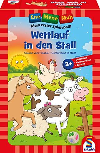 Schmidt Spiele 40558 Ene Mene MUH, Wettlauf in den Stall, Lernspiel, bunt