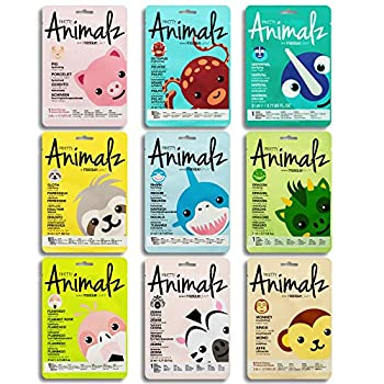 masque BAR Pretty Animalz Facial Sheet Mask  9 Pack  — Korean Beauty Skin Care Treatment —Purifies Minimizes Pores Hydrates Moisturizes Soothes Brightens — Party Fun Face Mask Sheets Animals