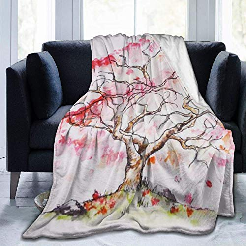 AEMAPE Hermoso árbol Rojo Impreso Manta Tiro Ligero súper Suave Micro Polar Mantas de Tiro Que se adaptan al sofá Cama Sala de Estar sofá Silla 50x40 Pulgadas