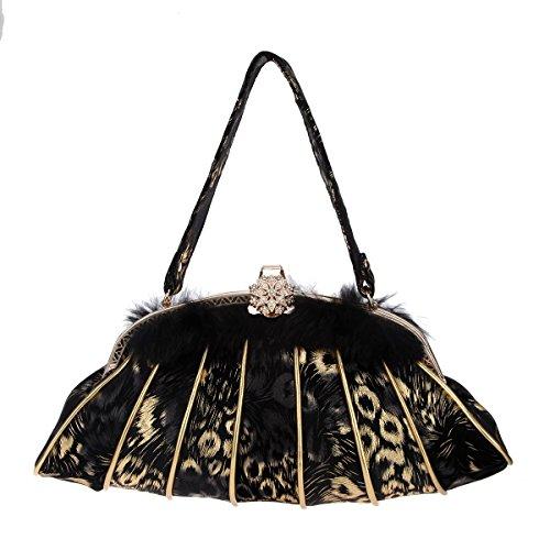 Bonjanvye Luxury Bag Fur Crossbody Bag for Women Shoulder Handbags Black