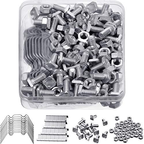 400 Stücke Gewächshaus Reparatur Set, enthält 100 Stücke Verglasung Klammern W Drahtklammern, 100 Stücke Z Überlappung Klammern, 100 Stücke Aluminium Gewächshaus...
