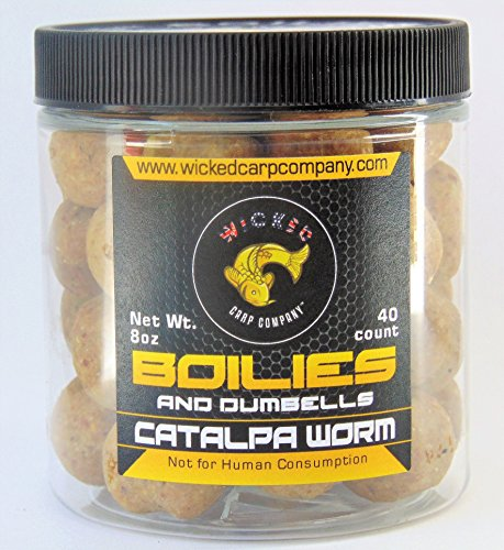 Wicked Carp Company 8oz (~40/tub) 15mm Catalpa Worm Boilies & Dumbells | Hard Dough Carp Bait & Catfish Bait