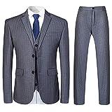 Mens 3 Piece Suit Formal Pinstripe Slim Fit Notched Lapel Dress Blazer Vest Trousers Set Grey