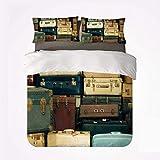 Zozun Juego de Funda nórdica Vintage Cómodo Juego de 3 sábanas, Colorida Maleta Vintage de Cuero Antiguo Decorativo Viaje Regalo Mapa Nostalgia para Hotel