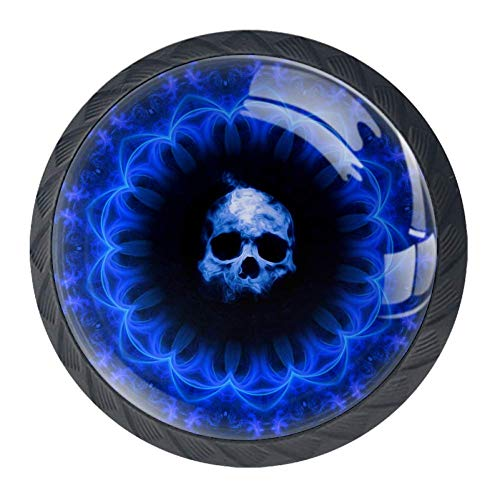 Skull Dark Blue Gothic Fantasy 4 PCS Pull Crystal Glass Cabinet Knobs with Stainless Steel Screws Handle Colorful Knobs Furniture Cupboard Drawer Handle for Bedroom Living Room Child's Room…