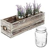 MyGift 18 Inch Rustic Wood Flowers Planter Box with 4 Clear Glass Mason Jar, Utensil Holder, Flatware Caddy