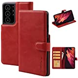 VISOUL Case for Samsung Galaxy S21 Ultra 5G Case Wallet with Card Holder, Genuine Leather Folio Flip Case Cover with Magnetic Clasp Closure for Samsung Galaxy S21 Ultra (6.8-inch) (Red)