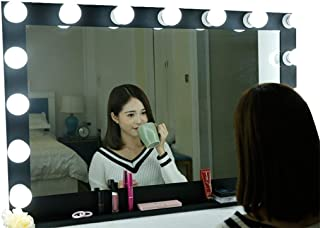 Beauty Mirror Vanity Makeup Mirror with 15 Led Lights Touch Screen, Large Rectangle Illuminated for Photo Studio Hair Salon Dressing Table Dressing Mirror (Color : Monochromatic)