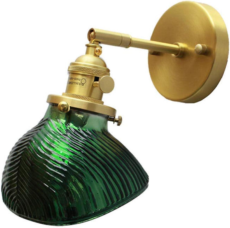 YAOUDWL Glaswandlampenschlafzimmerbettganghintergrund-Wandspiegelscheinwerfer Der Einfachen Persnlichkeit Aus Messing Führten Beleuchtung@Straight Pole Wandleuchte_Ohne Lichtquelle