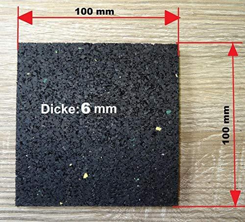 100 Stück Terrassenpads 100 x 100 x 6 mm, Auflagepads, Unterkonstruktion, Bautenschutzmatte, Gummipad, Unterlage, Terrassenbau, Gummigranulat Pads Terrassenbaupad