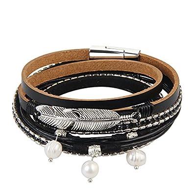 GelConnie Feather Leather Wrap Bracelet Boho Bracelets for Women Prime Teen Girl Gifts LPB248-black