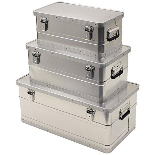 MFH wasserdichte Transportkiste Aluminiumkiste Werkzeugkuste Box Alubox Kiste (100 Liter)
