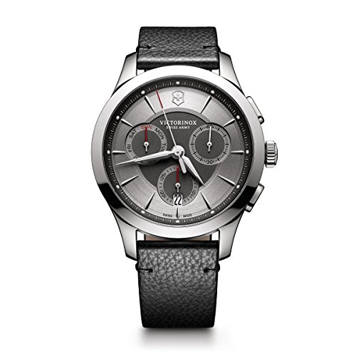 Victorinox Men's Alliance Stainless Steel Swiss-Quartz Watch with Leather Strap, Black, 21 (Model: 241748)