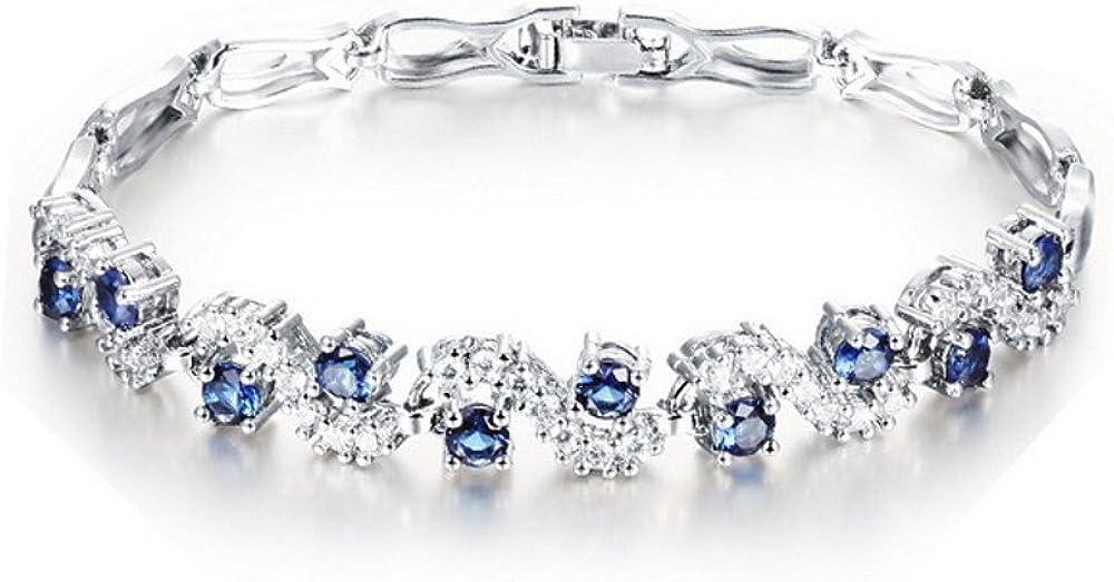 Bracciale tennis con zirconi blu zaffiro, cristalli swarovski, bracciale placcato oro bianco 18 ct, da donna CR-AZ-0042