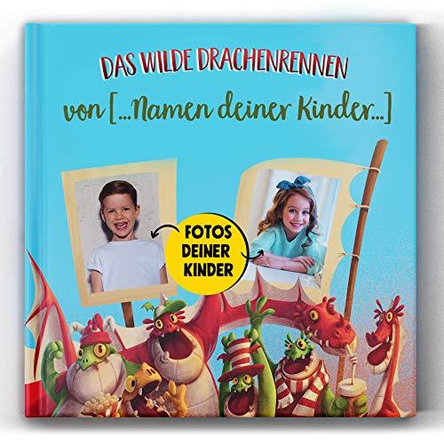 Personalisiertes Kinderbuch über ein Drachenrennen mit Photos und Namen des Kindes Personalisierbares Kinderbuch Abenteuer-Bilderbuch Geschenk zum Geburtstag für Mädchen und Jungen ab 3 Jahre