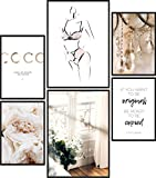 Papierschmiede® Mood-Poster Set Coco Female | Cuadros como decoración de paredes | Living y dormitorio | 2x A3 y 4x A4 | Eucalipto Mujer Pétalos beige - sin marco