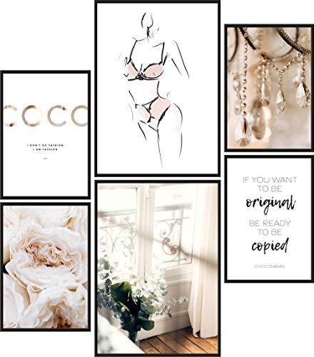 Papierschmiede® Mood-Poster Set Coco Female   6 Bilder als stilvolle Wanddeko   2X DIN A4 und 4X DIN A5  ...