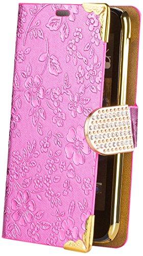 iCues HTC Desire 310 | Chrom Blumen Tasche Pink | [Bildschirm Schutzfolie Inklusive] Floral Strass Glitzer Glitter Luxus Bling Damen Frauen Mädchen Chrome Book Klapphülle Schutz Etui Handytasche zum aufklappen Flip Hülle Schutzhülle Booklet Hülle Wallet