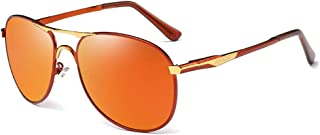 Fashion Red/Brown Men's Driving Sunglasses Color Film Metal Material Trend Wild Sunglasses Retro (Color : Red)