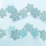 50 Stücke Kunststoff Funkeln Schneeflocken Ornamente für Weihnachten Dekoration, Verschiedene Größen (Blau Glitzer)