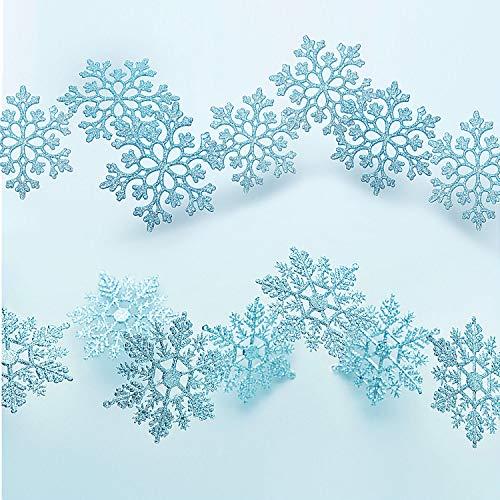 50 Stücke Kunststoff Funkeln Schneeflocken Ornamente für Weihnachten Dekoration, Verschiedene...