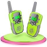 Fairwin Walkie Talkies para Niños, Juguetes para Niños de 3-12 Años LCD de 8 Canales Linterna Incorporada 3 Millas para Aventuras al Aire Libre, Camping, Hiking (Verde)