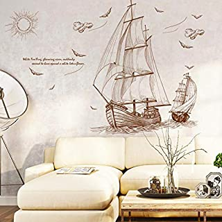 DIY Removable Wall Stickers For Living Room Home Decor - Sailboat