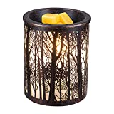 COOSA Metal Wax Melt Warmer,Forest Pattern Candle Warmer,Ideal for Home Office Aromatherapy(2 Bulbs Included)