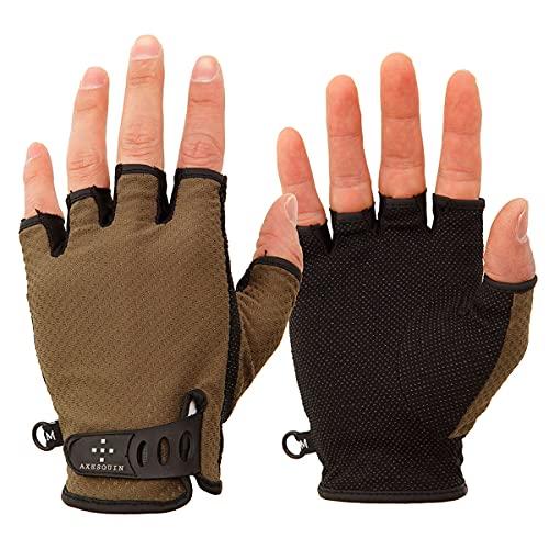 AXESQUIN(アクシーズクイン) UV Mesh Finger Cut Glove UV メッシュフィンガーカットグローブ AG6707 オリーブ L