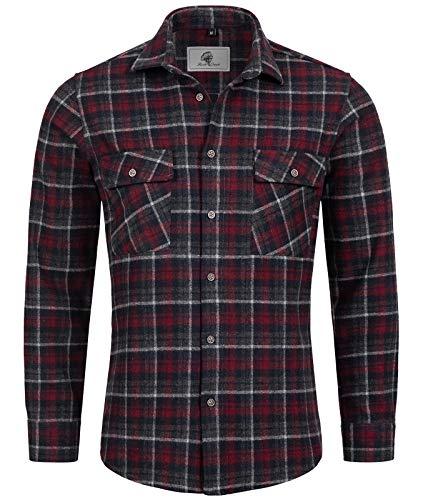 Rock Creek Herren Hemd Kariertes Flanellhemd Karohemd Herrenhemd Flanell Hemden Holzfällerhemd Übergangsjacke Langarm Kariert Winter H-248 Rot XL