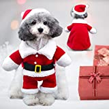 Cute Pet Costume Outfits Red Christmas Santa Claus Hat Scarf Cosplay Dressing up Xmas Party Fashion New Year Clothing Accessories for Small Pet Cat Dog (Hat, L)