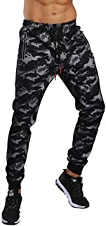 Creazrise Mens Jogger Pants Active Fleece Elastic Hipster Zipper Casual Slim Fit Camouflage Sweatpants with Pocket (Blue,XL)