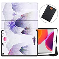 """MAITTAO iPad 10.2"""" 2019 Case with Apple Pencil Holder,Folio Stand Smart Cover Shockproof Soft TPU Back Shell For iPad 7th Generation 10.2 inch Tablet Sleeve Bag 2 in 1 Bundle,Chinese Landscape 18"""
