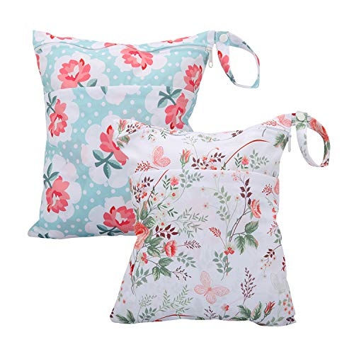 Wet Bag for Cloth Diapers Waterproof Reusable Bags with Two Zippered Pockets Fresh Flower Wet Dry Bag Travel Beach Pool Yoga Gym Bag for Pump Swimsuits Wet Clothes 2 pcs