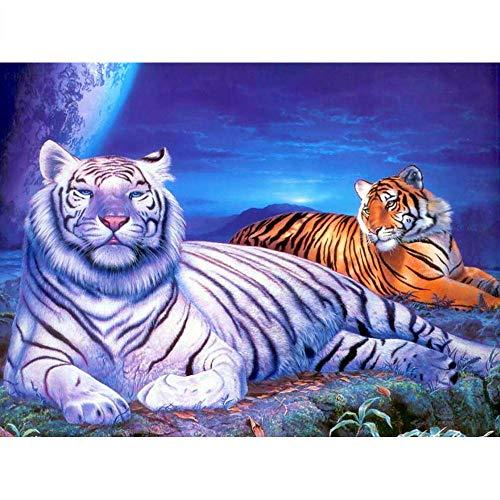 DIY 5D diamante pintura mosaico dos tigres punto de cruz cristal diamantes de imitación bordado artesanía para adultos niños decoración del hogar regalo 40X50Cm