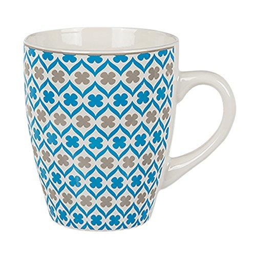 Haus und Deko Kaffeetasse Retro Dekor Porzellan Becher mit Henkel Tasse 250 ml Muster blau grau - Variante 2