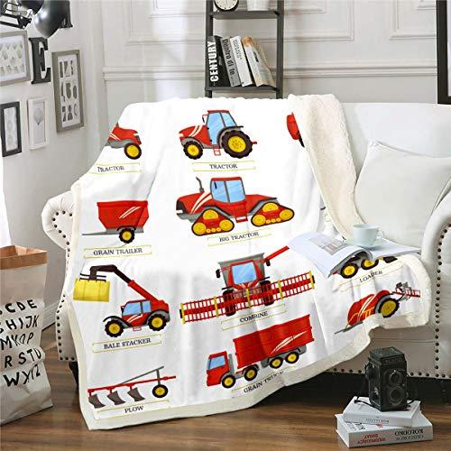 Loussiesd - Manta de forro polar para niños y niños, para excavadora, varios vehículos Sherpa, manta de peluche, decoración de habitación para bebé, 76 x 40 pulgadas