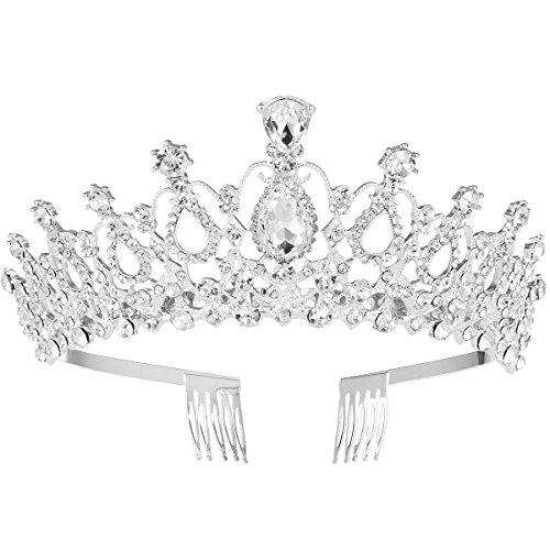 Frcolor FRCOLOR Tiara nupcial Crystal Rhinestones Tiara Crown con peine para boda nupcial