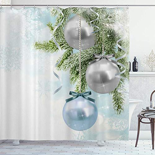 DYCBNESS Cortina de Ducha,Adornos de Navidad de Navidad por Encargo Bolas de Plata Azules Cono de Pino Copos de Nieve de Invierno,Durable Cortina de Baño Impermeable,180 x 180 cm