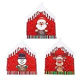 Warooma - Set di 6 coprisedie di Natale, per sedie da pranzo, per feste e feste, colore: rosso