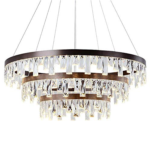 Europäische Kristall-Kronleuchter, Lüster Nordic LED-runde schwarze Aluminium Beleuchtung Dekoration Leuchter-Deckenleuchte Moderne Luxuxwohnzimmer Halle Metall Pendelleuchte