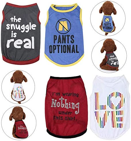 Yikeyo Set of 4 Puppy Shirt for Small Dogs Boy Clothes for Chihuahua Yorkies Male Cute Tshirts product image