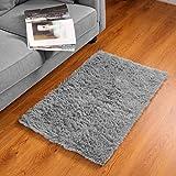 BAYKA Machine Washable Fluffy Indoor Ultra Soft Shag Area Bedroom, Non-Slip Floor Carpet for Kids Home Decor Nursery Rug 2x3 Feet Dark Grey, 2' x 3'